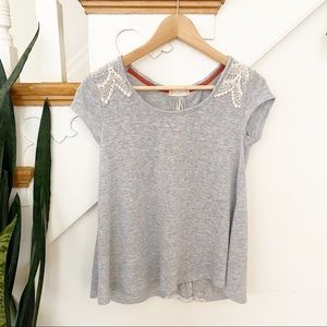 Altar'd State gray blouse lace up back crochet S